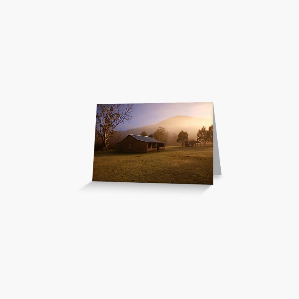 Misty dawn over GeeHe Hut, Kosciusko Nat. Park, Australia Greeting Card