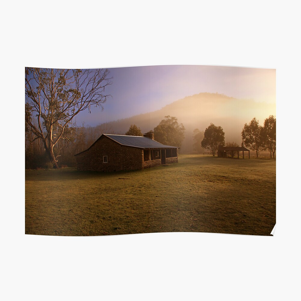 Misty dawn over GeeHe Hut, Kosciusko Nat. Park, Australia Poster