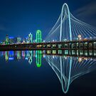 Dallas Skyline Bridge Reflection by josephhaubert