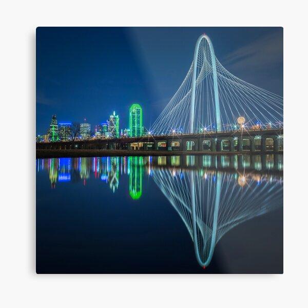 Dallas Skyline Bridge Reflection Metal Print