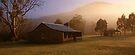 Misty dawn over GeeHe Hut, Kosciusko Nat. Park, Australia by Michael Boniwell