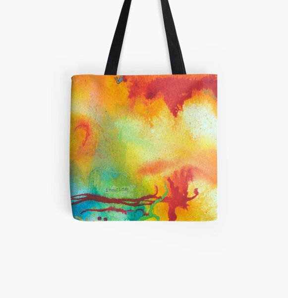 Imagine Affirmation - Bright abstract painting All Over Print Tote Bag