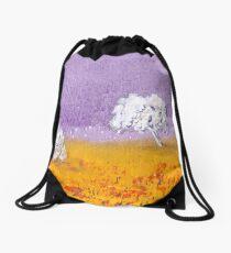 Purple and Gold Landscape Drawstring Bag