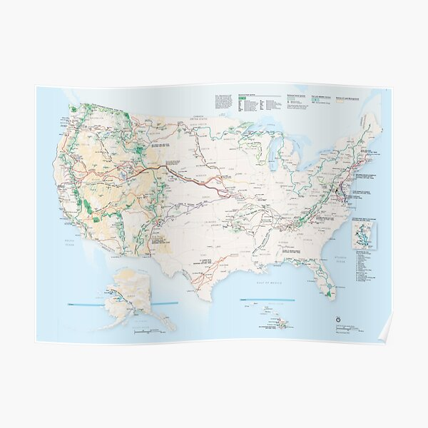 National Parks Trail Map Poster