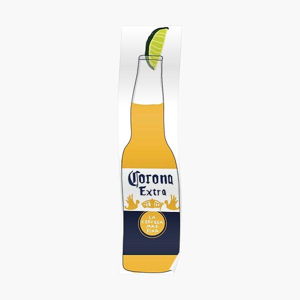 Corona beer drawing Poster