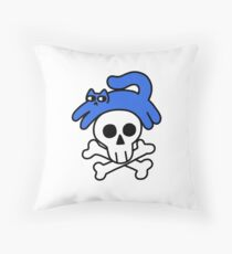 Cat And Skull And Crossbones Throw Pillow