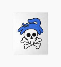 Cat And Skull And Crossbones Art Board Print