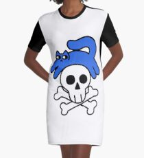 Cat And Skull And Crossbones Graphic T-Shirt Dress