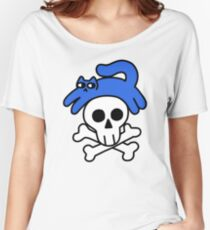 Cat And Skull And Crossbones Relaxed Fit T-Shirt