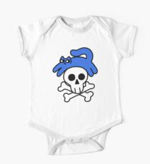 Cat And Skull And Crossbones Short Sleeve Baby One-Piece