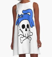 Cat And Skull And Crossbones A-Line Dress