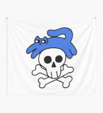 Cat And Skull And Crossbones Wall Tapestry