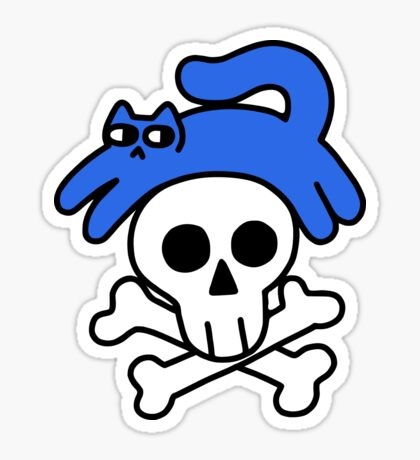 Cat And Skull And Crossbones Glossy Sticker