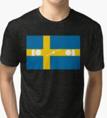 Swedish Brick Flag Silhouette Tri-blend T-Shirt