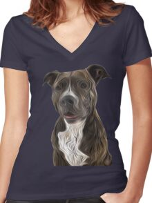 Pit Bull Terrier Oil Painting Style Women's Fitted V-Neck T-Shirt