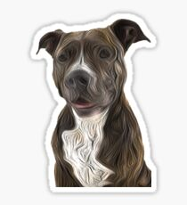 Pit Bull Terrier Oil Painting Style Sticker