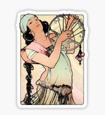 Pegatina Salomé L´Estampe Moderne Alphonse Mucha Bohemian Gypsy Playing Instrument