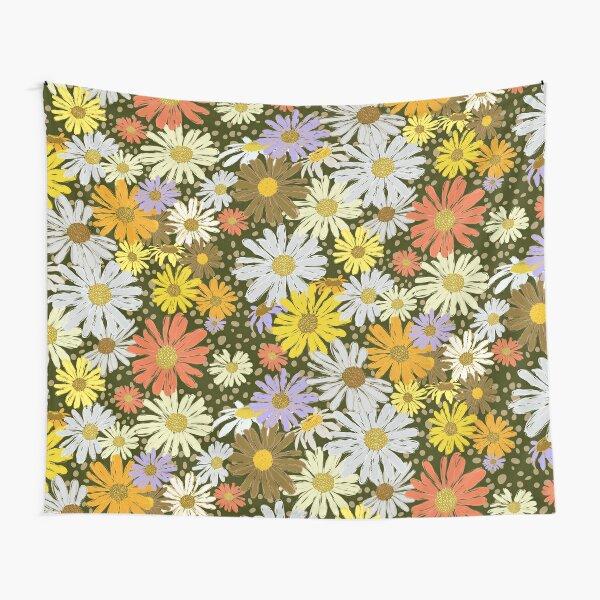 Daisy Dance Dark Ground Tapestry