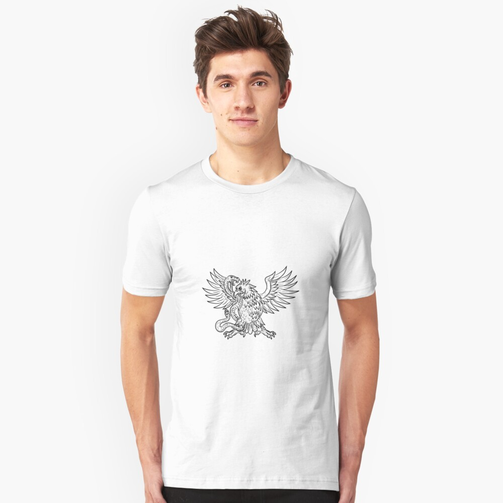 Mexican Eagle Fighting Rattlesnake Drawing Black and White Unisex T-Shirt Front