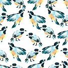 Watercolor tit birds illustration by TrishaMcmillan