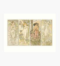 Lámina artística La serie de flores - Alphonse Mucha