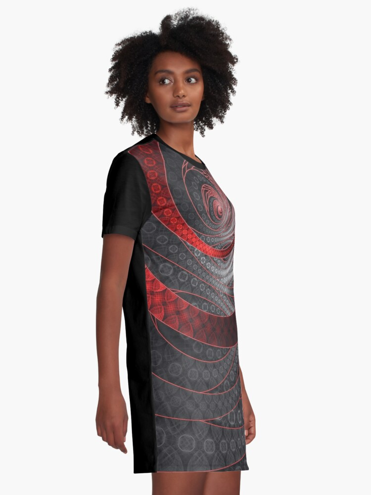 Alternate view of Corded Crimson Scales in the Eye of the Vampire Graphic T-Shirt Dress