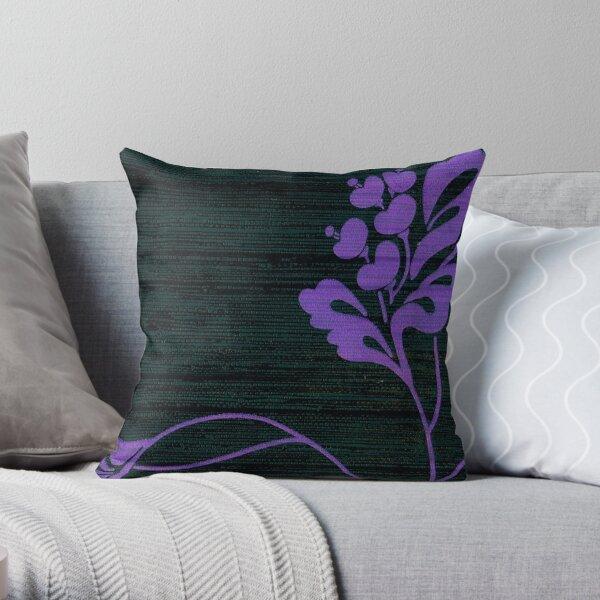 Purple Glamour on Black Weave Throw Pillow
