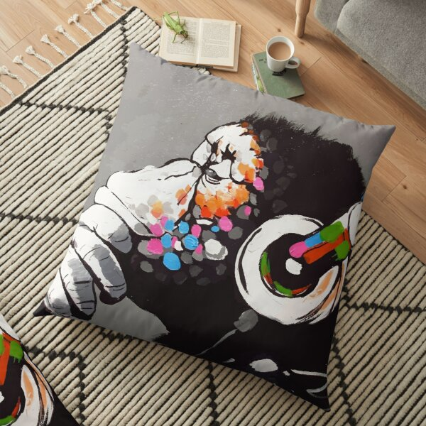 Banksy DJ Monkey Thinker with Headphones Floor Pillow