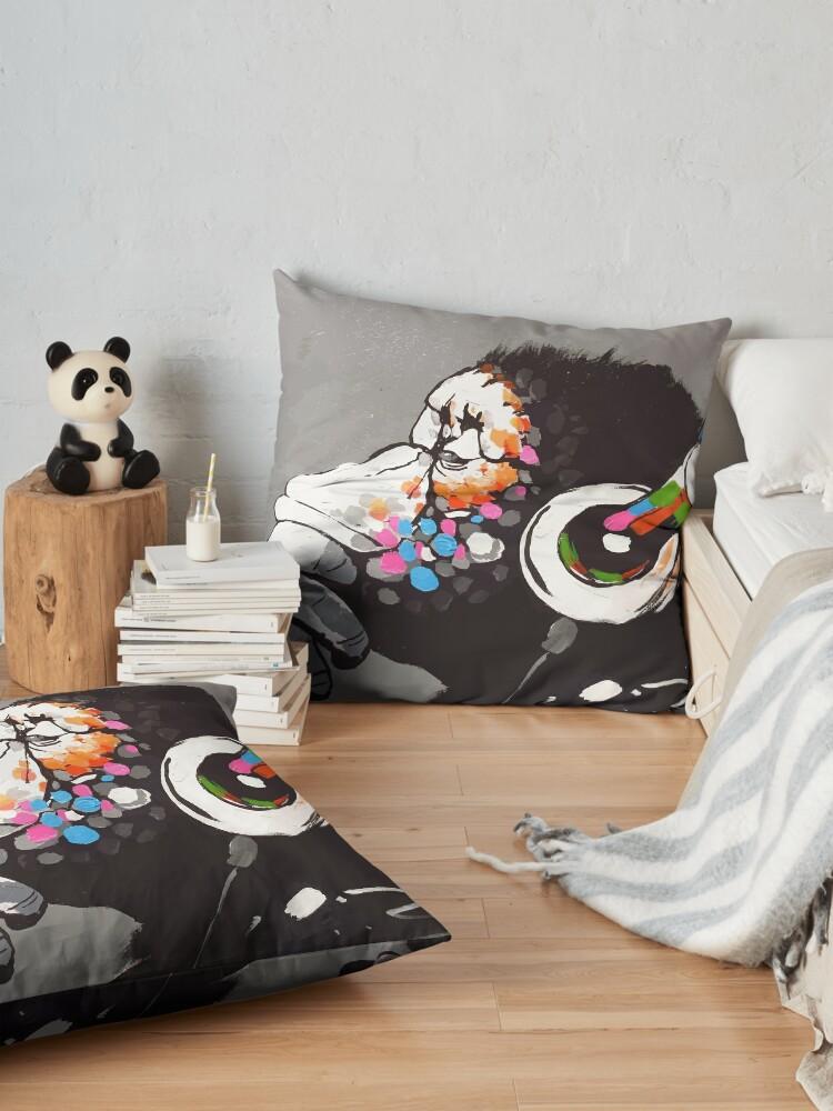Alternate view of Banksy DJ Monkey Thinker with Headphones Floor Pillow