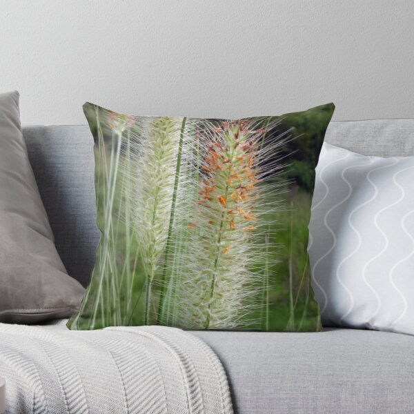 Amazing colourful Grass Flowers Throw Pillow