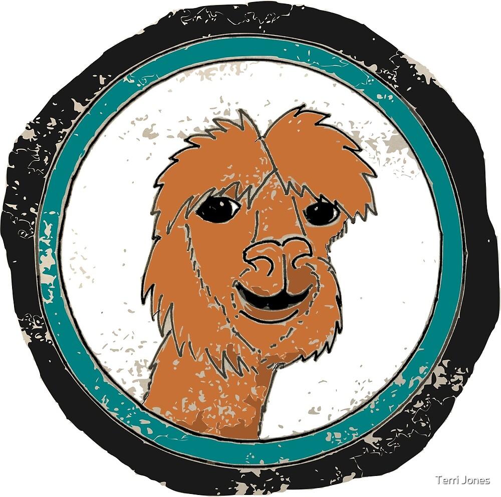 Happy llama kawaii cartoon illustration by Terri Jones
