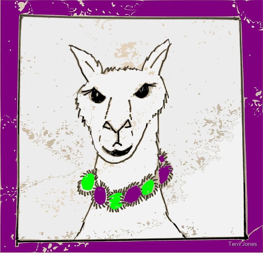 Beautiful llama cartoon kawaii by Terri Jones