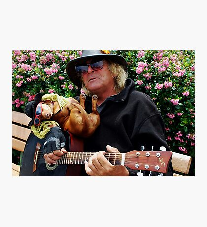 Dachshund and Guitar man in Sausilito Photographic Print