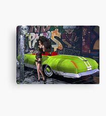 Melbourne Grafitti & Kanaa Mucle Car - modeled Canvas Print