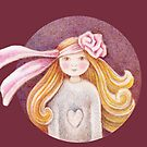 girl wit rose flower in her hair by trudette
