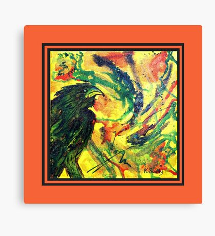 Scarf - Raven red background Canvas Print
