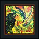 Scarf - Raven, Black Background by scallyart