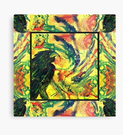 Scarf - Raven, patterned background Canvas Print