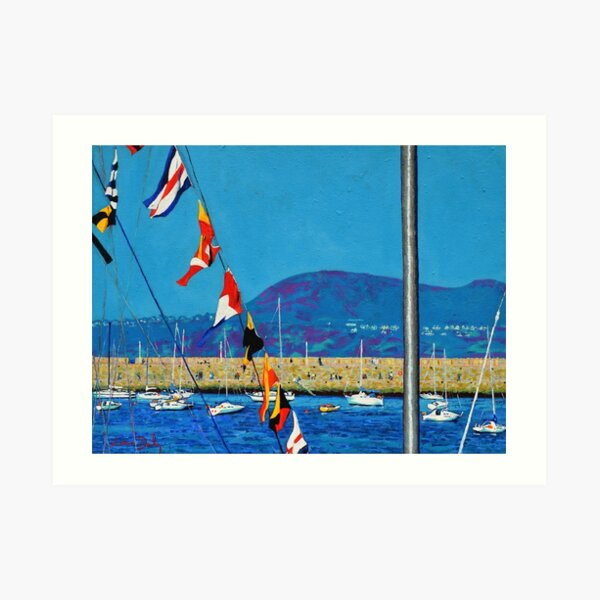 Dún Laoghaire Harbour and Howth Head Art Print