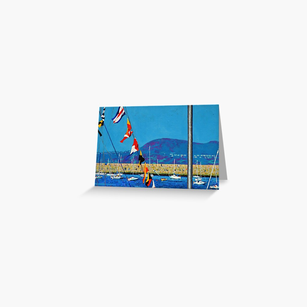 Dún Laoghaire Harbour and Howth Head Greeting Card