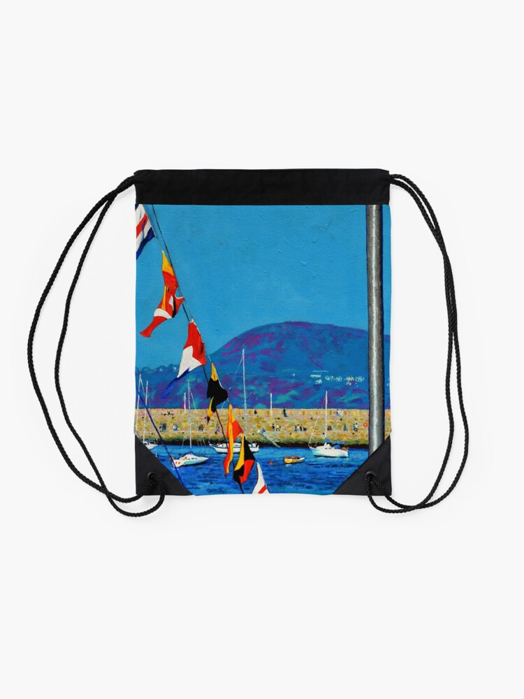Alternate view of Dún Laoghaire Harbour and Howth Head Drawstring Bag