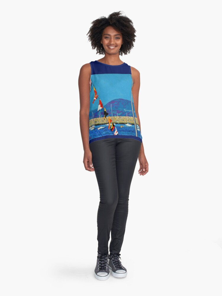 Alternate view of Dún Laoghaire Harbour and Howth Head Sleeveless Top