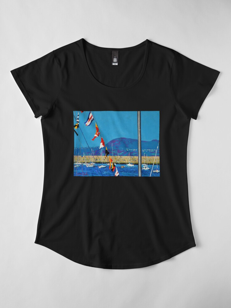 Alternate view of Dún Laoghaire Harbour and Howth Head Premium Scoop T-Shirt
