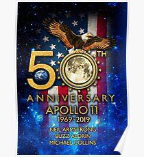 Apollo 11 zum 50. Jahrestag der Mondlandung 1969-2019 Poster