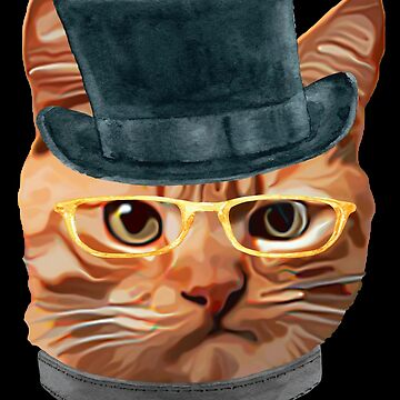 Cat Kitty Kitten In Clothes Yellow Glasses Top Hat by Vroomie