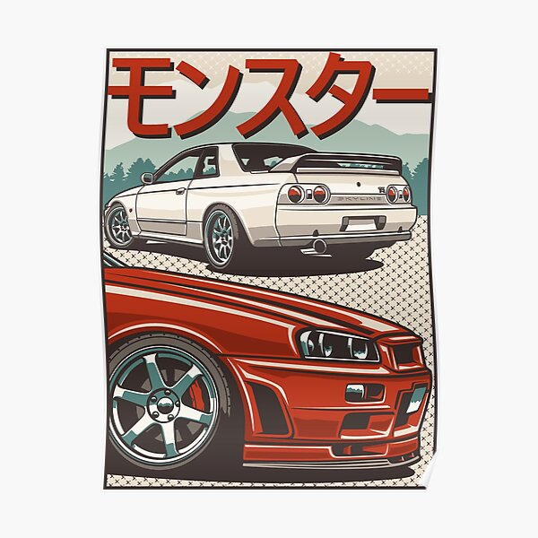 Monster Skyline GTR R32 & amp; R34 Poster
