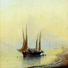 Barge in the sea shore-Ivan Aivazovsky by LexBauer