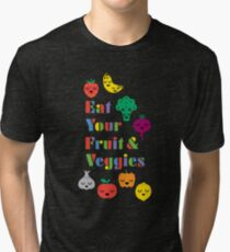 Eat Your Fruit & Veggies lll dark Tri-blend T-Shirt