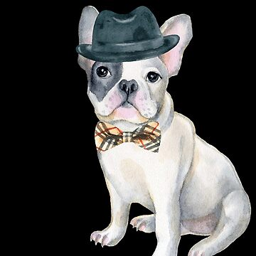 Frenchie French Bulldog Gangster Hat plaid bow tie Dogs In Clothes by Vroomie