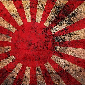 Japanese Flag Old Weathered Distressed Worn Grunge Style by BennyBearProof